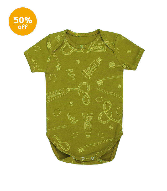 Toothbrush & toothpaste Olive Bodysuit - short sleeve 50% SALE