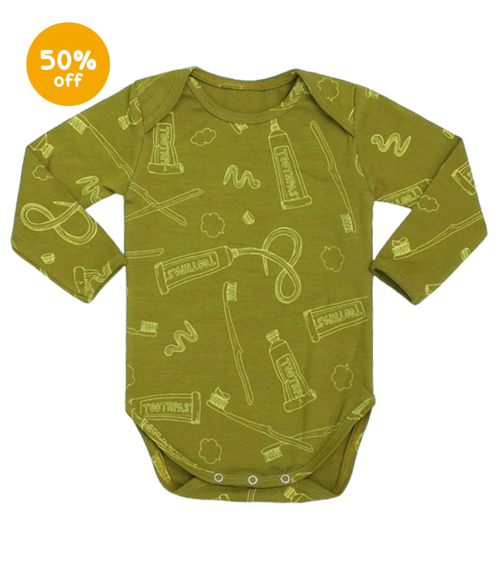 Toothbrush & toothpaste Olive bodysuit - long sleeve 50% SALE